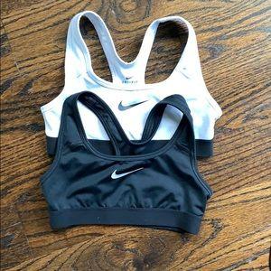 Nike girls sports bras - black/white - size small